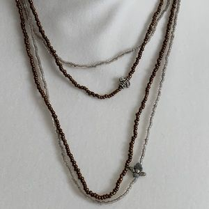 Double Layered Brown & Silver Beaded Necklace